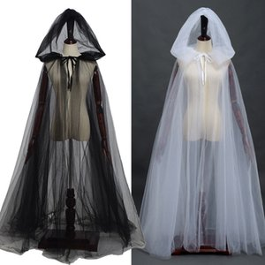 Elf Witch Manto Senhora Halloween com capuz Tulle Cloak Cosplay nupcial Xaile Brasão casamento
