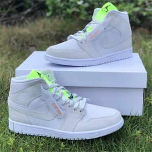 Newest Release Authentic Air1 Mid WMNS basketball shoes 1 Mid Vast Grey CV3018-001 Mens Womens outdoor Trainer Sport sneakers US 4-13 A35