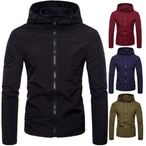 2019 Spring and Autumn Men's Solid Color Regular Sleeve Straight Hem Stand Collar British Fit Hooded Jacket