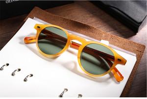 alta calidad de los hombres gafas de sol de las mujeres famosa marca ov5186 Gregory Peck gafas de sol polarizadas gafas redondas gafas Gafas de gafas