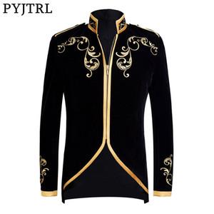 PYJTRL British Style Palazzo del Principe di moda Black Velvet oro ricamo Blazer da sposa sposo Slim Fit T200113 Cantanti del vestito del rivestimento del cappotto
