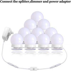 Hollywood Style LED Vanity Mirror Kit lumières avec 10 ampoules à intensité variable pour le maquillage Coiffeuse et Plug alimentation en éclairage Fixtur