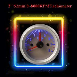 """Freeshipping Sıcak Satış! Yeni gelen! 0 ~ 8000 RPM 2 """"52mm Mavi Işık Takometre Tach Ölçer ile Auto Car için Tutucu Kupası"""
