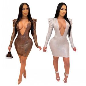 Hottest Sexy-Schein-Frauen-Partei-Kleid mit tiefem V-Ausschnitt mit langen Ärmeln Rüschen Schulter kurz, figurbetontes Kleid Nachtclub Minikleid Frühling