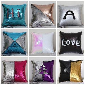 Mermaid Sequins Pillow Cover Magic Reversible Pillow Case Glitter Glamour Cushion Cover Bling Sofa Car DIY Pillow Case Home Decor D7340