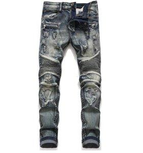 Erkek Klasik Biker Jeans Erkek İnce Düz Diz Örtüsü Paneli Moto Biker Jeans Tahrip Ripped Stretch Hip Hop Pantolon
