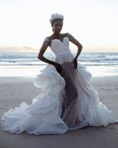 Роскошная жемчужная бисера белая русалка свадебные платья южноафриканское свадебное платье с съемной юбкой Organza racka iers с длинными рукавами