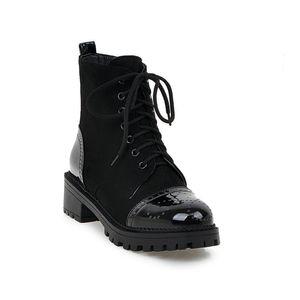 Hot Sale-NEMAONE Women's Ankle Boots med Heels Ladies western shoes autumn Winter lace up Woman boots black brown white blue Plus Size 43