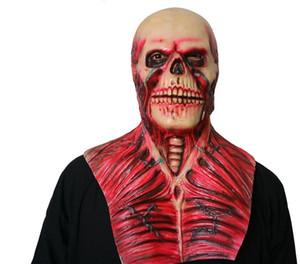 Nouveau gros Halloween sang crâne Masque latex perruques Effrayant maison hantée décoration supérieure d'horreur corps Rib masques terroristes muscle du diable