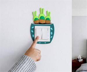 New Home Décor Luminous Cactus Switch Aufkleber Kreative Schalter Abdeckung Buchse Wandaufkleber Schalter Dekorative Leuchtende Aufkleber