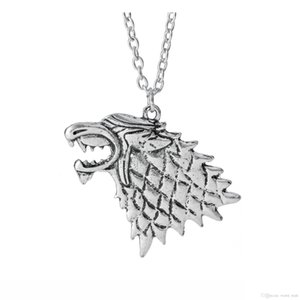 Game Of Thrones Direwolf Pendant Necklace House Stark Wolf Head Necklace Classic Vintage Men Statement Necklace