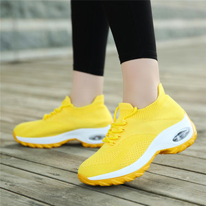 Tamaño extra grande de las cuñas de los zapatos para las mujeres zapatillas de deporte ocasionales de la plataforma Comfort señoras de Formadores zapatos de las mujeres Chaussures Femme