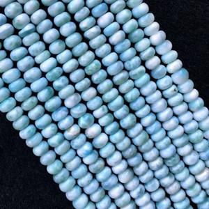 """جودة عالية الطبيعية حقيقية الدومينيكان الأزرق اريمار فضفاض الأحجار الكريمة السلس rondelle الخرز 4x7 ملليمتر 16 """"05817"""
