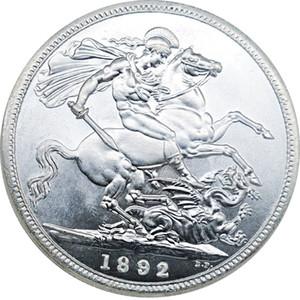 5PCS britanniques Coins 1892 Grande-Bretagne Souverain Copie Argent Plaqué pièce Reine Victoria Décoration Coin