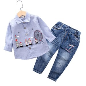 Toddler Boys Clothing Set 2020 Autumn Kids Clothes Cotton Long Sleeve Striped Shirt+Jeans Gentleman Set for Boy 1 2 3 4 5 Years
