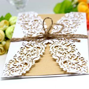 2018 Affordable Wedding Invites Laser Cut Pocket Wedding Invitation Suites Customizable Invites With Envelope Blank Inner Custom Printed