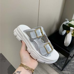 Xia Liang slippers female 2020 new fairy wind ins tide super fire wild thick bottom word buckle sports net red slippers