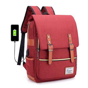 Erkekler ve Kadınlar için Vintage Seyahat Sırt Çantaları USB Şarj Laptop Sırt Çantası Okul Bagpack Çocuklar için Altı Renkler