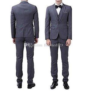 New Popular One Button Dark Grey Groom Tuxedos Notch Lapel Men Suits Wedding Prom Dinner Best Man Blazer (Jacket+Pants+Vest+Tie) W227