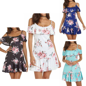2019 Mode Femmes Summer Club Party Dress off Mini Floral épaule froide Spaghetti Strap Robe de plage