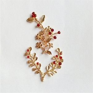 Venta al por mayor 30 PCS Fashion Metal Alloy Leaf Flowers Crystal Rhinestone Connectors Charm DIY Accesorios de joyería
