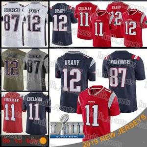 New Englands Patriot 12 Tom Brady 87 Rob Gronkowski jersey 11 Julian Edelman Super Bowl patch football jerseys