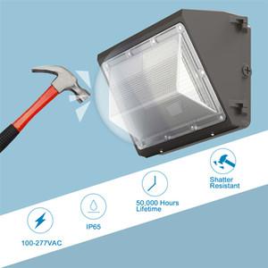 DLC fotocélulas Outdoor LED Wall embalar a luz 80W 120W IP65 industrial Wallpack luminária LED 5000K luzes de inundação economia de energia
