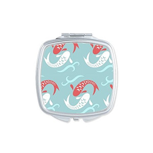 Japan Culture Cute Blue Carp Waves Repeat Totem Illustration Pattern Square Compact Makeup Pocket Mirror Portable Cute Small Hand Mirrors