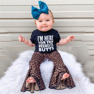Toddler Kids Baby Girl Clothes Letter Short Sleeve Romper Tops Leopard Flared Pants 2Pcs Outfits Baby Clothes Summer