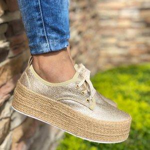 LASPERAL moda delle signore delle donne espadrille scarpe di tela spessa appartamenti inferiori delle ragazze dei pattini Lace up punta rotonda casuale traspirante Flats