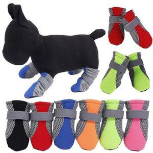 Dog Boots Pet Shoes Mesh Shoe Breathable Reflective Straps 4 pcs Per Set Soft Sole Colors Mix CCFYZ294