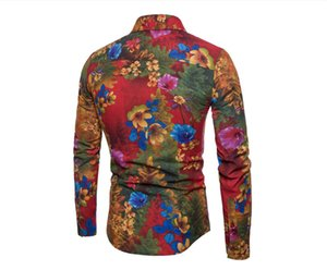 Fashion-Floral Print Mens Casual Shirts Fashion Slim Single Breasted Mens Shirts Casual Long Sleeve Males Clothing