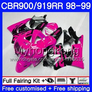 Cuerpos Para HONDA CBR 919RR CBR 900RR CBR919RR 1998 1999 Rosa negro brillante 278HM.47 CBR900RR CBR 919 RR CBR900 RR CBR919 RR 98 99 Kit de carenado