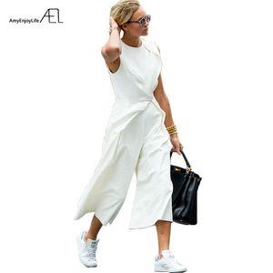 Ael Blanc Longueur Cheville Pantalon Taille Empire Asymétrique Gilet Conjoint Pantalon 2017 Casual Mode Femmes Vêtements Élégant Mince Y190427