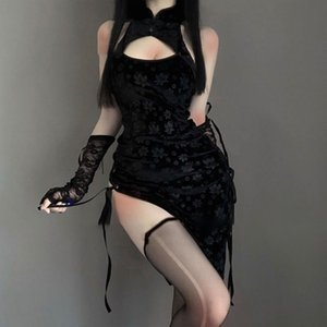 Sexy Costume Black Cheongsam Erotic Anime Underwear Babydoll Dress Women Lace Outfit Fancy Slim Fit Open Chest Uniform