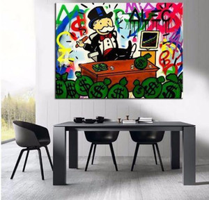 Pintado a mano HD Print Alec Monopoly Graffiti Pop arte urbano Pintura al óleo Stocks on Canvas office Wall art culture Multi Sizes g272