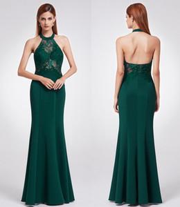 Nouvelle haute qualité formelle Robes de bal noir Elegance vert Halter sans manches en dentelle Backless Fishtail robes de soirée