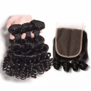 Funmi Curly Human Hair Brazilian Virgin Hair Bouncy Curl 3 Bundles With 4x4 Closure Natural Black Unprocessed Remy Hair