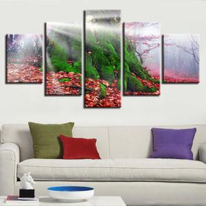 5 adet Kırmızı Yaprak Ve Green Tree Manzara Boyama Posteri Modüler Ev Salon Dekor Kanvas Baskı Resim Duvar Sanatı