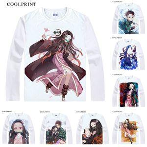Maglietta Demon Slayer Kimetsu no Yaiba Tanjirou Kamado Nezuko Maglietta Cosplay casual personalizzata Magliette digitali a manica lunga con stampa vintage
