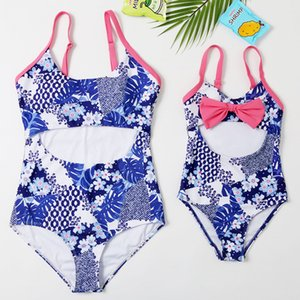 2020 New Beachwear Mum and Me Swimwear One Piece Hollow-out Monokini Floral Swimsuit for Girl and Women Family Match Swimsuit