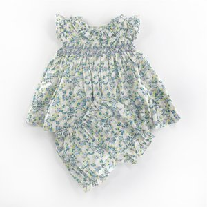 2020 Summer Spain Toddler Baby Girls Cotton Ruffles Princess dresses 2pcs Baby Girls Floral Sweet 1-3Years Girls Boutique Outfit