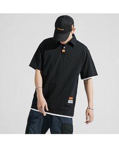 Yaz yeni kısa kollu, V yaka gevşek polo erkek tişört, basit gündelik Japon saf pamuklu rahat erkek giyim