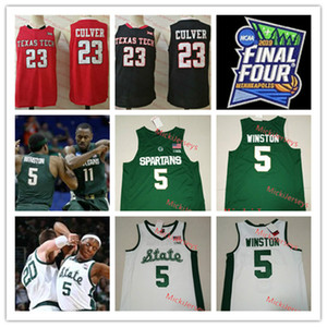 Erkek 2019 Final Four # 23 Jarrett Culver Texas Tech Red Raiders Basketbol Jersey Dikişli 5. Cassius Winston Michigan State Spartans Jersey