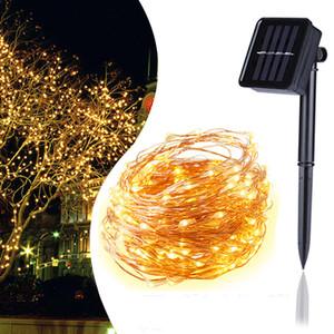 CRESTECH LED 태양 문자열 빛 구리 와이어 램프 야외 태양 요정 조명 5M 10M 20M 크리스마스 화환 문자열 빛 웨딩 가든