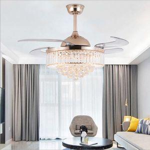 42/36 polegadas Fãs de teto luz invisível lâminas teto ventiladores modernos luminária sala de estar quarto chandeliers lâmpada pingente + controle remoto