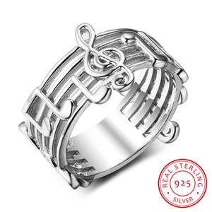 925 Sterling Sliver suena para las mujeres patrón de nota musical anillos para el amante de la música de moda de joyería de plata regalo de moda