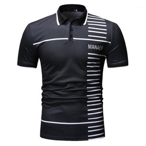 Casual Males Clothing Letter Stripe Panelled Print Mens Designer Polos Fashion Lapel Neck Mens Short Sleeve Polos