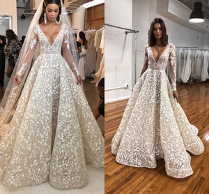 2020 Modern Wedding Dresses with Long Sleeves Floral Appliques Berta V-neck Full Lace Puffy Skirt Princess Beach Castle Wedding Gown