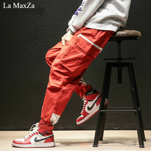 La MaxZa hip hop pista tendenze invernali pantaloni sportivi streetwear Più grasso codice grande Piccoli piedi pantaloni da uomo moda coreana